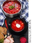 Купить «beetroot red soup with white beans», фото № 27467876, снято 19 января 2018 г. (c) Oksana Zh / Фотобанк Лори