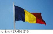 Купить «Romanian flag is national symbol of country.», видеоролик № 27468216, снято 6 октября 2017 г. (c) Яков Филимонов / Фотобанк Лори