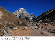 Купить «Mount Lobuche and trekking trail», фото № 27472768, снято 4 июля 2020 г. (c) age Fotostock / Фотобанк Лори