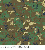 Купить «Seamless green camouflage of pixel pattern», иллюстрация № 27504664 (c) Сергей Лаврентьев / Фотобанк Лори
