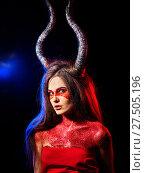 Купить «Mad satan woman aggressive cry in hell . Witch reincarnation creature.», фото № 27505196, снято 23 марта 2017 г. (c) Gennadiy Poznyakov / Фотобанк Лори