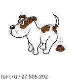 Купить «The dog defecates», иллюстрация № 27505392 (c) Сергей Лаврентьев / Фотобанк Лори