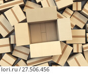 Купить «Open empty cardboard box Isolated on white background.», фото № 27506456, снято 18 июня 2019 г. (c) Maksym Yemelyanov / Фотобанк Лори
