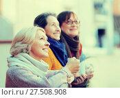 Купить «Senior women drinking tea at balcony», фото № 27508908, снято 16 октября 2018 г. (c) Яков Филимонов / Фотобанк Лори