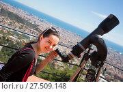 Купить «woman looking in telescope», фото № 27509148, снято 18 августа 2018 г. (c) Яков Филимонов / Фотобанк Лори