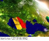 Купить «Romania with flag in rising sun», фото № 27518992, снято 20 октября 2018 г. (c) easy Fotostock / Фотобанк Лори