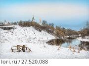 Купить «Зимний пейзаж на реке», фото № 27520088, снято 28 января 2018 г. (c) Baturina Yuliya / Фотобанк Лори