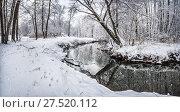 Купить «Река в парке. a black river flows in a snowy park», фото № 27520112, снято 1 января 2012 г. (c) Baturina Yuliya / Фотобанк Лори