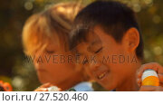 Купить «Close-up of schoolkids playing with bubble wand», видеоролик № 27520460, снято 4 апреля 2020 г. (c) Wavebreak Media / Фотобанк Лори