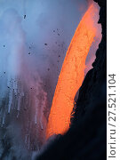 Купить «RF - Hot lava from the 61G flow from Kilauea Volcano entering the ocean from the open end of a lava tube at the Kamokuna entry in Hawaii Volcanoes National...», фото № 27521104, снято 19 сентября 2018 г. (c) Nature Picture Library / Фотобанк Лори