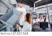 Купить «Adults trying to get out of escape room», фото № 27521524, снято 6 июля 2017 г. (c) Яков Филимонов / Фотобанк Лори