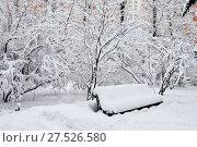 Купить «Снегопад в Москве. Заснеженная скамейка в сквере», фото № 27526580, снято 31 января 2018 г. (c) Илюхина Наталья / Фотобанк Лори