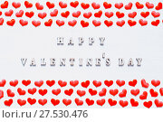 Купить «Red silk hearts and inscription Happy Valentines day on the white wooden background», фото № 27530476, снято 21 января 2018 г. (c) Зезелина Марина / Фотобанк Лори