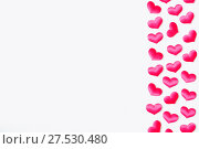 Купить «St Valentines day background. Pink textile hearts on the white wooden background, free space for text», фото № 27530480, снято 21 января 2018 г. (c) Зезелина Марина / Фотобанк Лори