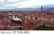 Купить «Вид на центральную историческую часть Флоренции в сентябрьских сумерках. Италия», видеоролик № 27534440, снято 19 сентября 2017 г. (c) Виктор Карасев / Фотобанк Лори