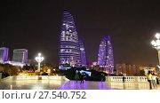 Купить «Ночной вид на башни Flame Towers - Огненные Башни. Баку. Азербайджан», видеоролик № 27540752, снято 23 сентября 2015 г. (c) Евгений Ткачёв / Фотобанк Лори
