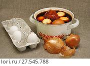 Купить «Окрашивание яиц отваром из луковой шелухи», эксклюзивное фото № 27545788, снято 4 мая 2013 г. (c) Dmitry29 / Фотобанк Лори
