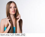 Купить «young woman with long beautiful hair», фото № 27546292, снято 29 ноября 2017 г. (c) Типляшина Евгения / Фотобанк Лори