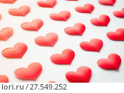 Купить «St Valentines day background. Red hearts on the white wooden background, shallow DOF, Valentines day still life in soft tones», фото № 27549252, снято 20 января 2018 г. (c) Зезелина Марина / Фотобанк Лори