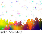 Купить «Spectator silhouettes and confetti on white background», фото № 27561128, снято 11 декабря 2018 г. (c) easy Fotostock / Фотобанк Лори