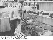 Купить «Woman choosing dried berries», фото № 27564324, снято 17 июня 2019 г. (c) Яков Филимонов / Фотобанк Лори