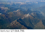 Aerial view over the Tien-Shan mountains, China, October 2016. Стоковое фото, фотограф Staffan Widstrand / Nature Picture Library / Фотобанк Лори