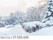 Купить «Тротуар, машина и деревья засыпаны снегом после снегопада в Москве», фото № 27565600, снято 6 февраля 2018 г. (c) Алёшина Оксана / Фотобанк Лори