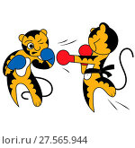 Купить «Vector cartoon two tiger cub cute young martial arts», фото № 27565944, снято 25 февраля 2020 г. (c) age Fotostock / Фотобанк Лори