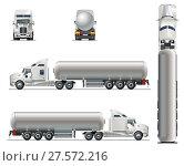 Купить «Vector realistic tunker truck template isolated on white», иллюстрация № 27572216 (c) Александр Володин / Фотобанк Лори