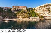 Купить «Main port view of Bonifacio town, Corsica», фото № 27582004, снято 3 июля 2015 г. (c) EugeneSergeev / Фотобанк Лори