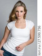 Купить «White Tshirt Woman», фото № 27590736, снято 17 ноября 2018 г. (c) PantherMedia / Фотобанк Лори