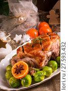 Купить «christmas dinner with brussels sprouts in orange sauce», фото № 27593432, снято 23 февраля 2019 г. (c) PantherMedia / Фотобанк Лори