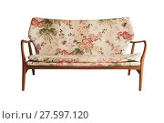 Купить «Wooden sofa upholstered in floral fabric printed, vintage style», фото № 27597120, снято 23 марта 2019 г. (c) PantherMedia / Фотобанк Лори