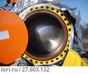 Купить «Sakhalin, Russia - 12 November 2014: Latch for the gas pipeline», фото № 27603132, снято 25 мая 2019 г. (c) PantherMedia / Фотобанк Лори