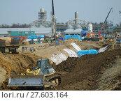 Купить «Sakhalin, Russia - 12 November 2014: Construction of the gas pipeline on ground.», фото № 27603164, снято 25 мая 2019 г. (c) PantherMedia / Фотобанк Лори