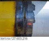 Купить «Welding seam on the pipeline», фото № 27603216, снято 23 июля 2018 г. (c) PantherMedia / Фотобанк Лори