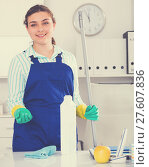 Купить «Female cleaner is ready to clean the cabinet», фото № 27607836, снято 21 мая 2017 г. (c) Яков Филимонов / Фотобанк Лори