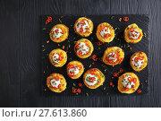 Купить «potatoes halves loaded with cheese, bacon», фото № 27613860, снято 3 февраля 2018 г. (c) Oksana Zh / Фотобанк Лори