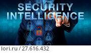 Купить «Manager Pushing SECURITY INTELLIGENCE», фото № 27616432, снято 23 мая 2019 г. (c) PantherMedia / Фотобанк Лори