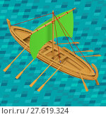Купить «Sailing boat isometric vector illustration», фото № 27619324, снято 26 мая 2018 г. (c) PantherMedia / Фотобанк Лори