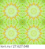 Купить «Abstract geometric seamless background. Ornate concentric ornaments in light green shades with yellow and bright pink elements.», фото № 27627048, снято 20 июля 2018 г. (c) PantherMedia / Фотобанк Лори