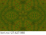 Купить «Abstract geometric seamless background. Ornate modern ellipses pattern in bright green and light brown shades with dark outlines.», фото № 27627980, снято 27 июня 2019 г. (c) PantherMedia / Фотобанк Лори