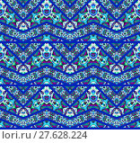 Купить «Abstract geometric seamless background. Extensive zigzag pattern dark blue with various multicolored elements in purple, turquoise, green and light gray. », фото № 27628224, снято 24 мая 2018 г. (c) PantherMedia / Фотобанк Лори