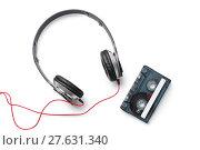 Купить «cassette tape and headphones», фото № 27631340, снято 20 января 2019 г. (c) PantherMedia / Фотобанк Лори