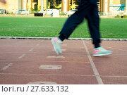 Купить «Runners feet in motion on track», фото № 27633132, снято 23 мая 2019 г. (c) PantherMedia / Фотобанк Лори
