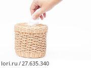 Купить «Craft weave tissue paper box», фото № 27635340, снято 20 июля 2018 г. (c) PantherMedia / Фотобанк Лори