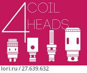Купить «4 coil heads set», фото № 27639632, снято 17 января 2019 г. (c) PantherMedia / Фотобанк Лори