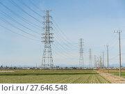 Купить «Power line with blue sky», фото № 27646548, снято 11 декабря 2018 г. (c) PantherMedia / Фотобанк Лори