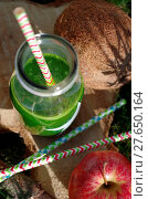 Купить «Green smoothie with spinach, apple and coconat (exterior shot)», фото № 27650164, снято 19 августа 2018 г. (c) easy Fotostock / Фотобанк Лори