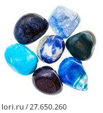 Купить «pile of blue natural mineral gemstones isolated», фото № 27650260, снято 31 марта 2020 г. (c) PantherMedia / Фотобанк Лори
